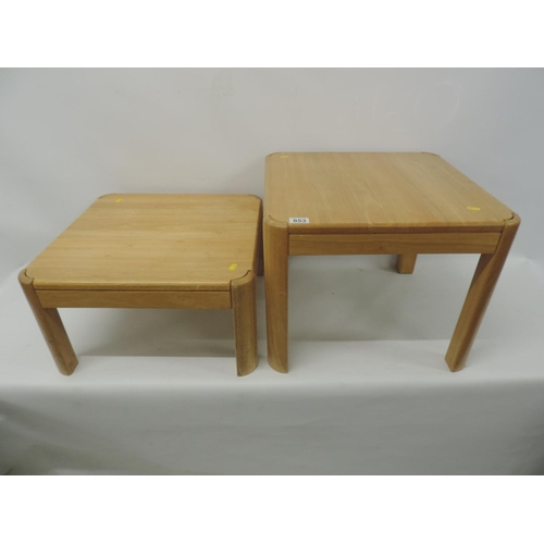 853 - 2x Lightwood coffee tables - 20''x 20''...