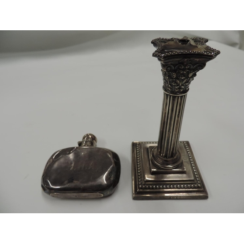 870 - Silver candle sticks and Silver hip flask...