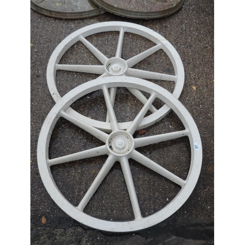 89 - Plastic garden cart wheels...