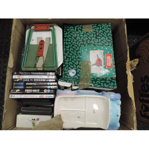 904 - Box of misc - DVDs, Christmas tree holder etc...