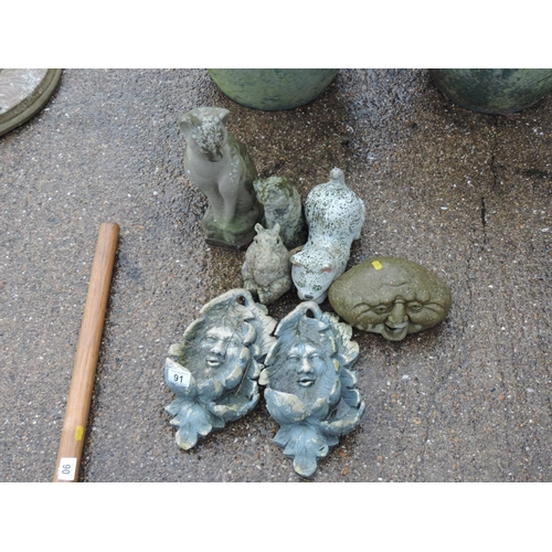 91 - Quantity of concrete garden ornaments...