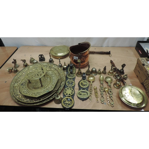 919 - Quantity of Brass and Copper ware...