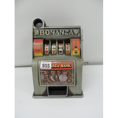 955 - Reproduction one arm Bandit money box...