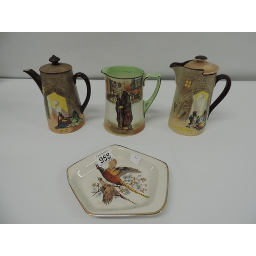 958 - 3x Royal Doulton jugs and Scottish ashtray...