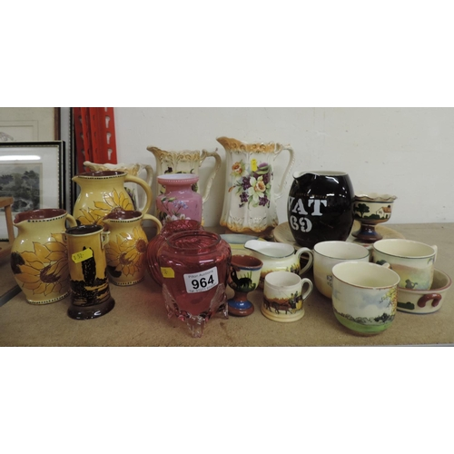 964 - Glazed jugs, cranberry glass, Royal Doulton china etc...
