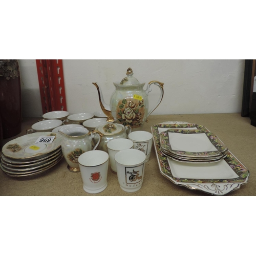 969 - Coffee set, porcelain Vodka cups, sandwich plates...
