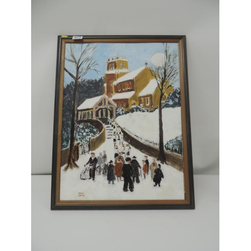 971 - Framed Oil on Board - Winter Scene...
