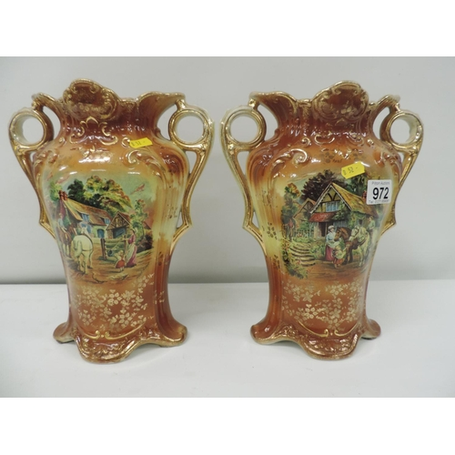 972 - Pair of Transfer printed vases...