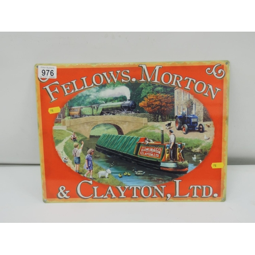 976 - Metal sign for Fellows Morton...