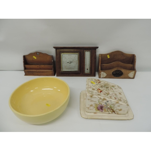 979 - Treen barometer, fruit bowl, cheese dish...