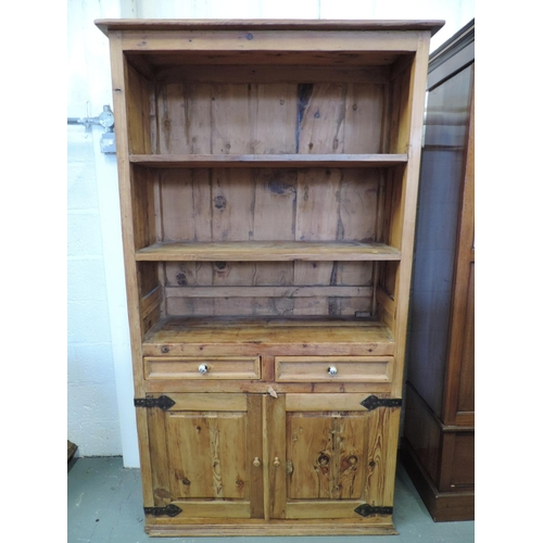 1018 - Rustic Pine bookshelves with two drawers and cupboard under...