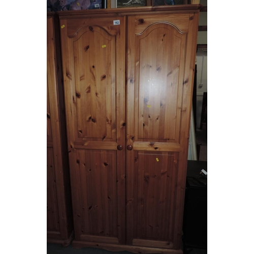 162 - Two door Pine wardrobe - 36''x 21''x 71''...