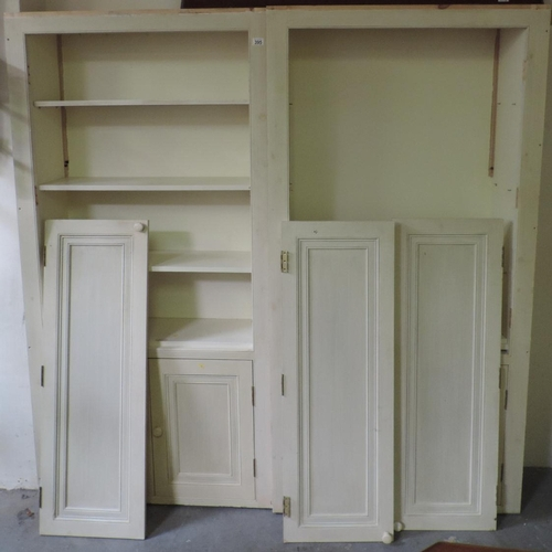 395 - Pair of painted four door cupboards - each 38''x 12''x 75''...