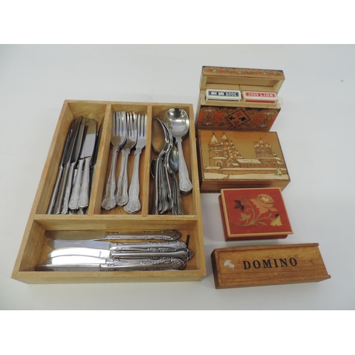 918B - Box of cutlery, boxed playing cards, dominos and 2x wooden trinket boxes...