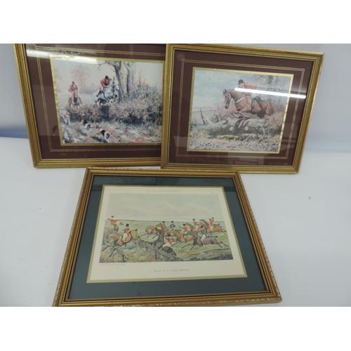 918D - 3x framed hunting prints...