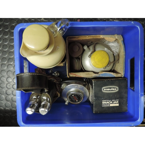 918F - Box of misc - camping kettles, Thermos, Hip flasks in leather case etc...