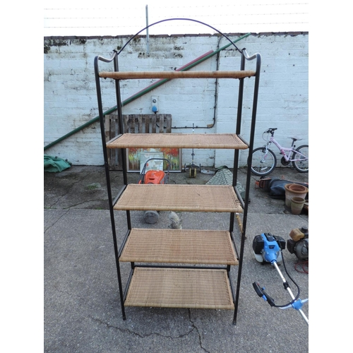 46A - Metal and cane shelving unit with five shelves...