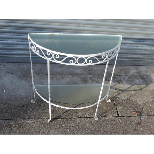 92I - Demi lune metal and glass plant table...