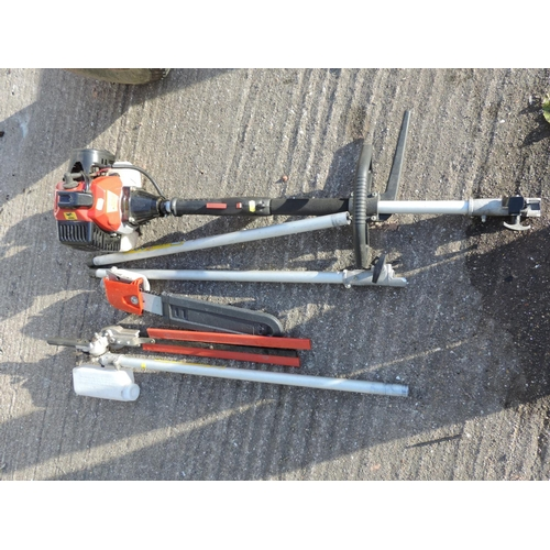 93F - Coopers petrol hedge cutter/chainsaw with long reach attachments...