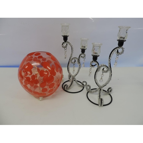 764A - Orange patterned globe light and 2x candelabras...