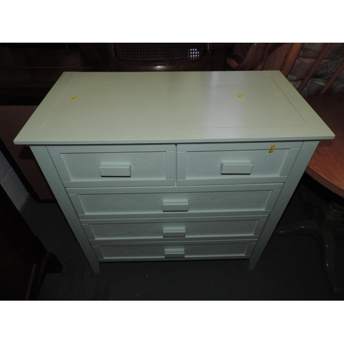 335B - Painted two over three chest of drawers...