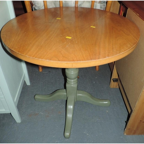 335C - Circular Oak table with painted legs...