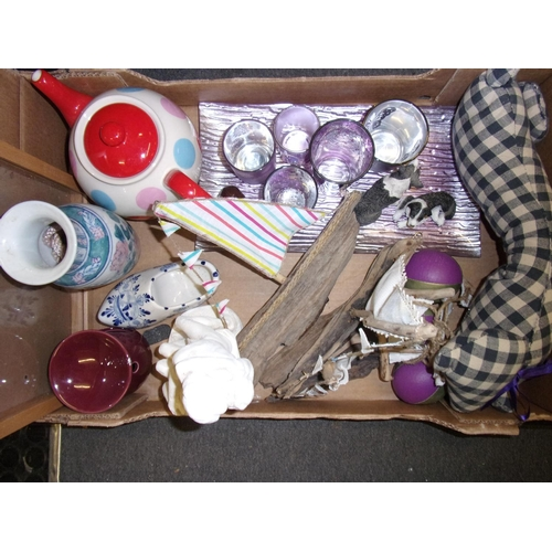 917A - Box of misc - driftwood boats, spotty teapot etc...