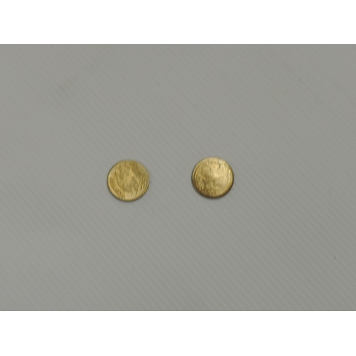 938 - 2x Gold coloured miniature Liberty coins...