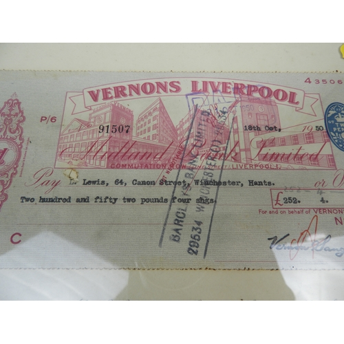 Framed Football Pools Cheque - Vernons Pools - Dated 1950