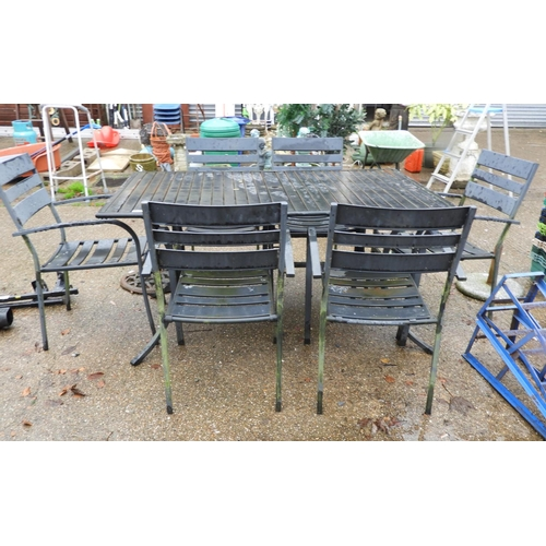 54 - Metal Garden Table and 6x Matching Chairs...