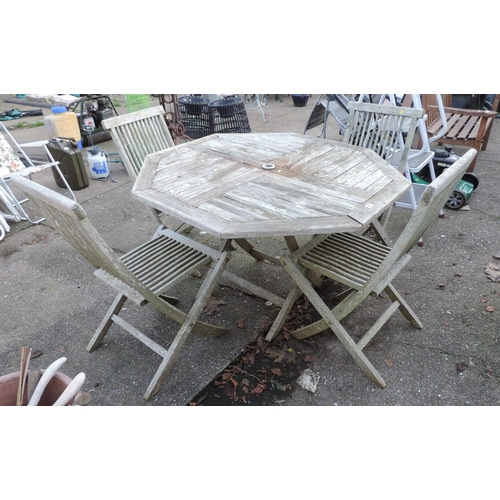 20 - Folding Wooden Garden Table and Chairs...