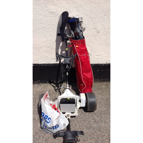 15B - Electric Golf Trolley Battery, Charger and Clubs...