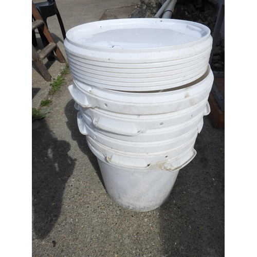 3 - Lidded Plastic Buckets...