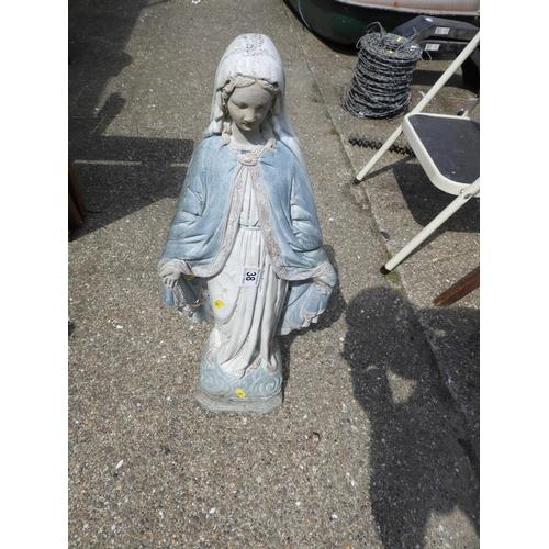 38 - Painted Concrete Garden Ornament - Religious...