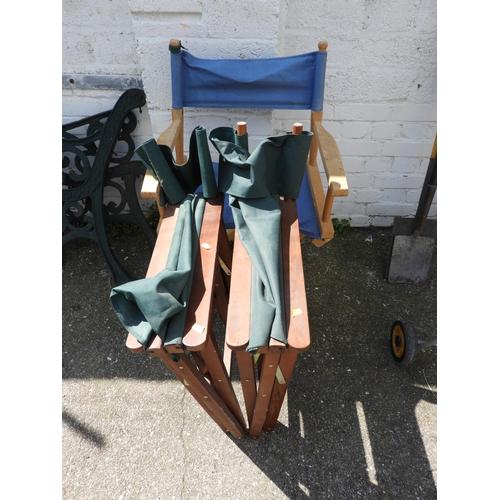 9 - 3x Folding Directors Chairs...