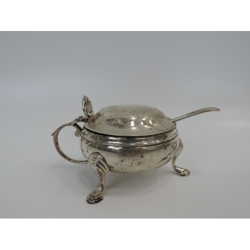 49 - Lidded Three Footed London Silver Salt with Blue Glass Liner and Sheffield Silver Spoon...