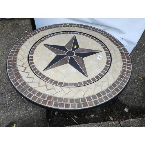 27 - Mosaic Tile Topped Circular Garden Table...