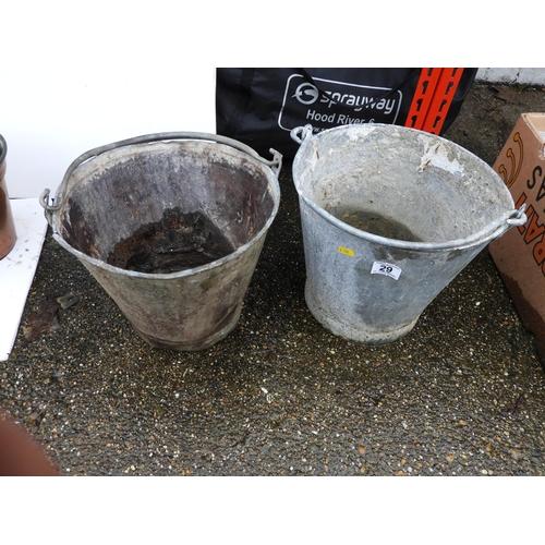 29 - 2x Galvanised Buckets...