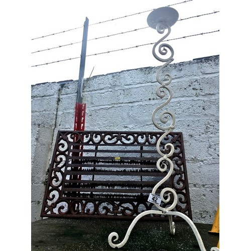 42 - Metal Door Mat and Wrought Iron Candle Holder...