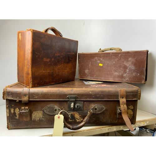 93 - 3x Vintage Leather Suitcases - One with Labels