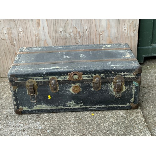 621 - Old Wooden Trunk with Brass Corners