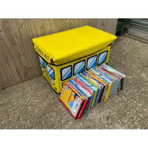 388 - Fold up Plastic Child's Storage Box and DVDs