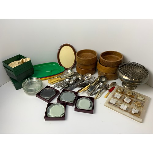 167 - Cutlery, Coasters and Wooden Bowls etc