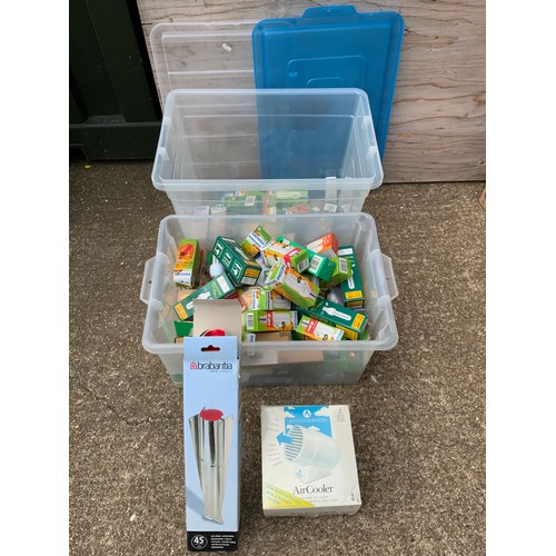 814 - 2x Plastic Lidded Storage Boxes, Light Bulbs, Air Cooler and Soil Spear