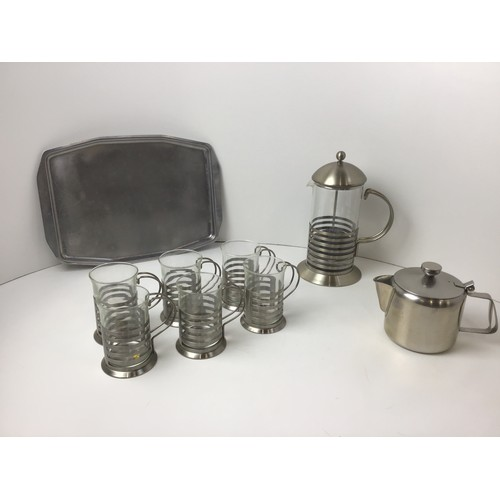 118 - Cafetiere with Matching Coffee Cups, Stainless Steel Teapot and Tray