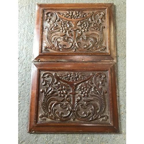 391 - Pair of Mahogany Carved Panels - 48cm W x 38cm H