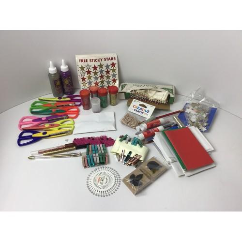 870 - Craft Materials - Glitter Glue, Scissors, Florist Pins and Stamps etc