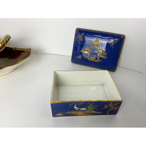 730 - 2x Crown Devon Fielding Dishes and Carlton Ware Trinket Box