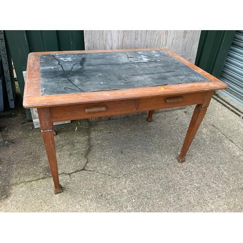 535 - Oak Two Drawer Desk - 120cm W x 84cm D x 76cm H