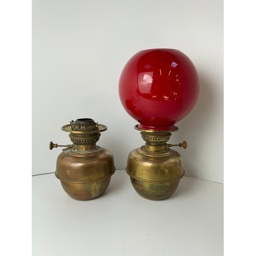 518 - 2x Oil Lamps - One with Shade